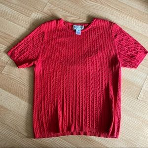 Vintage Pendleton Red Knit Style Short Sleeve Top